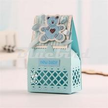 2016 New Cute Baby Favors Boxes Baptism Bombonieres Favors Baby Shower Favors Ideas Guests Gifts Box Pink and Blue