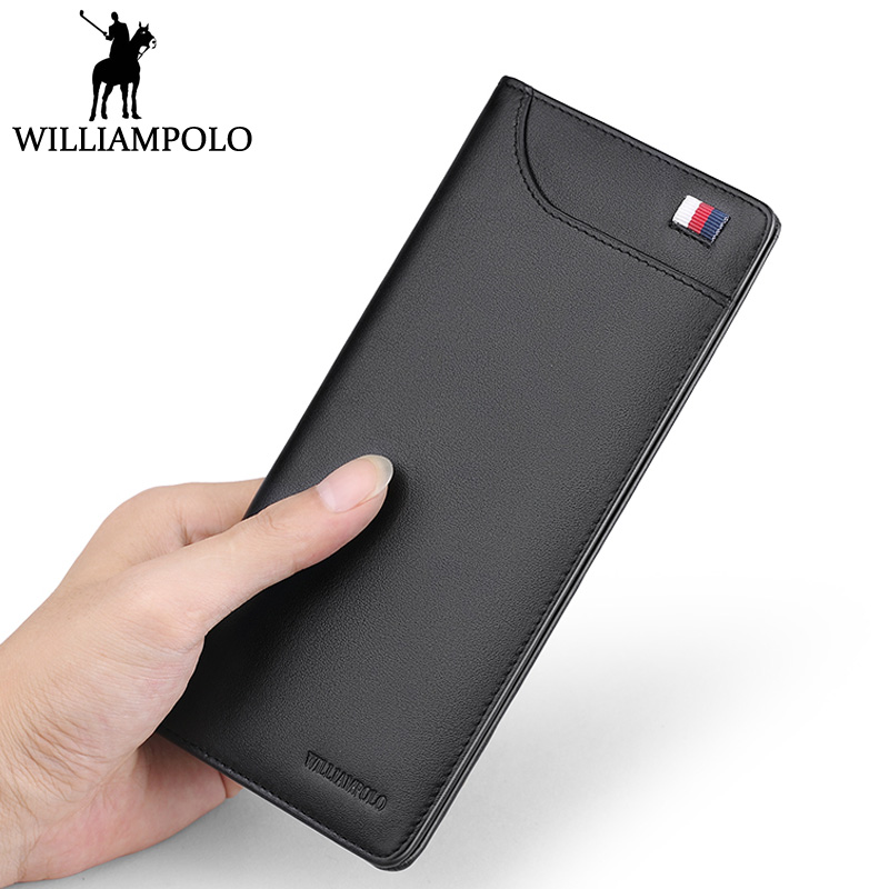 WILLIAMPOLO Genuine Leather Long Wallet Men Minimalist Thin Design Business Mens Wallet Card Holder Male Purse Black Blue Gift<br>