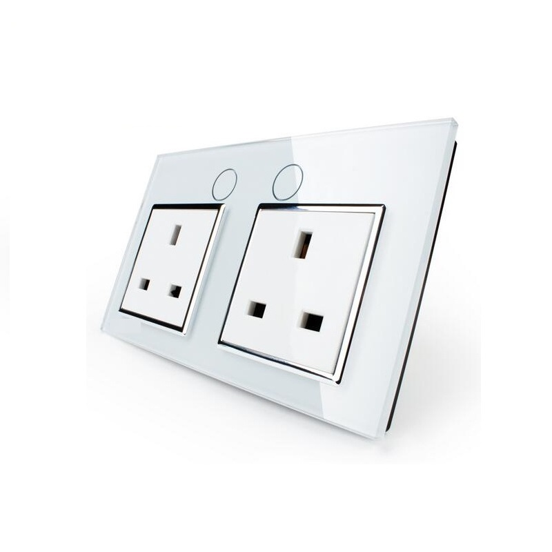 UK Standard Wall Power Socket,OS-02UK-1/2, Wall Switch, White Crystal Glass Panel, Manufacturer of 13A Wall Outlet<br>