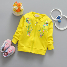Baby Toddler Kids Girls Spring Autumn Cotton Flower Emboidery Jacket Zipper  Coat  For 73-100cm Height Kids Cardigan G029