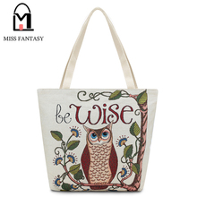 2017 Spring Style Women's Canvas Handbag Designers Owl Printed Beach Bag Shopping Bags Big Tote Bags Travel Shoulder HandBags(China)
