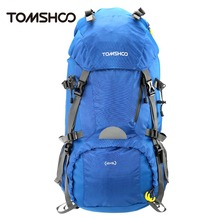 TOMSHOO 45+5L Outdoor Backpack Pack Bag Sport Hiking Trekking Camping Travel  Mountaineering Climbing Knapsack with Rain Cover
