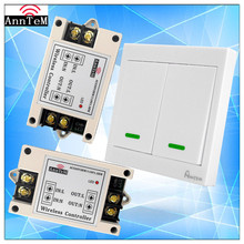 Anntem brand  433mhz 220V 40A Wireless Remote Control Light Switch Receiver 2CH 86 Wall Panel Led Remote Transmitter+Receiver