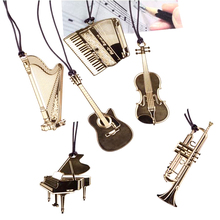 New Fashion Delicate delicate Mini musical instrument Gold bookmark cute Hollow Out Metal creative bookmarks for books 312