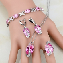 Pink CZ Princess Sterling Silver Jewelry Sets For Women Earrings/Pendant/Necklace/Ring Free Shipping&Gifts Box T237(China)