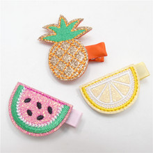 15pcs/lot Pre-cut Felt Embellishments Glitter Embroidery Pineapple Clips Cartoon Lemon Tropical Fruits Barrette Watermelon Pinch(China)