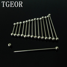 wholesale scaffold barbells 100pcs surgical Stainless Steel 14G 5mm ball tongue industrial barbell piercing free shipping