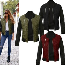 2017 Europe and the United States in autumn and winter new solid color fashion jacket zipper jacket cotton jacket