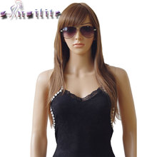 "S-noilite 24"" 100% Real Natural Silky Straight Wigs Heat Resistant Synthetic Wig Black Brown Blonde Grey Red Hair With Bangs(China)"