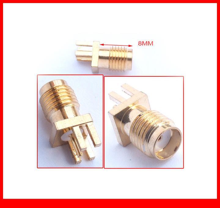 100PCS 5-pin Copper RF SMA female socket Jack PCB Solder Connector Partial Foot<br>