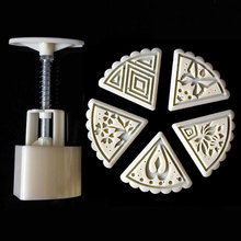 5 Style Stamps 50g Triangle Flower Moon Cake Mold Cookie Mould Set Mooncake Decor, Kitchen Tools
