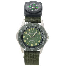 New Mens Canvas Strap Compass Quartz Casual Men Sport Military Wrist Watch Army Green A430
