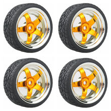 5 star Plating Wheel Rim & Soft Tires Tyre Gold  for RC 1:10 On Road Car Pack of 4