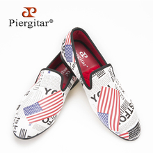 Piergitar new arrive summer wear Hand Painted men shoes Fashion Euro style Handmade smoking slipper Party and Wedding men loafer(China)