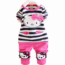 Hello Kitty Baby Girl Clothing Sets Spring Knitted T-shirt Pants Toddler Girl Clothing Cotton Kids Clothes Sets Children's Suit