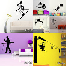 DIY Skating Ski Snowboarding Wall Stickers Home Decoration Dance Vinyl Decal Ice Winter Sports Skateboard PVC Wall Murals