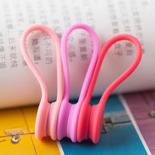 9PCS/lot New Arrival Silicone Magnet coil earphone cable winder headset type bobbin winder hubs cord holder Cable Wire Organizer(China)