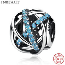 INBEAUT Sterling Silver Bracelet Charm Bead for Women Blue CZ Cross Winding Bracelets Charms Fit Snake Chain Teen Girl Jewelry(China)