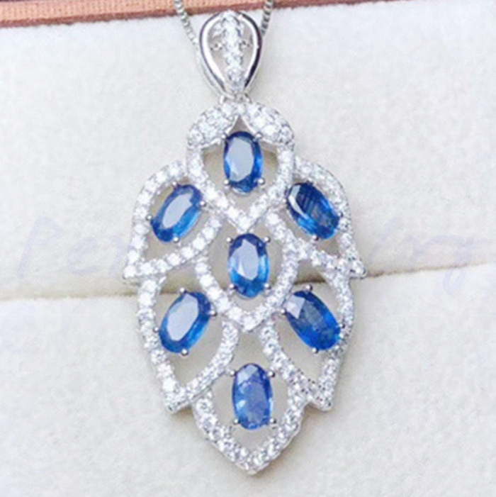 Natural real sapphire necklace pendant 0.35ct*7pcs gemstone Free shipping 925 sterling silver For men or women #Y193409