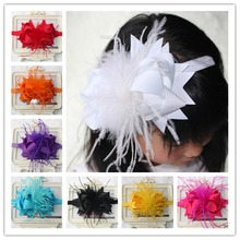 satin ribbon flower children girls kids feather hair bows head band headband decorations ornaments accessories tiara headdress(China)