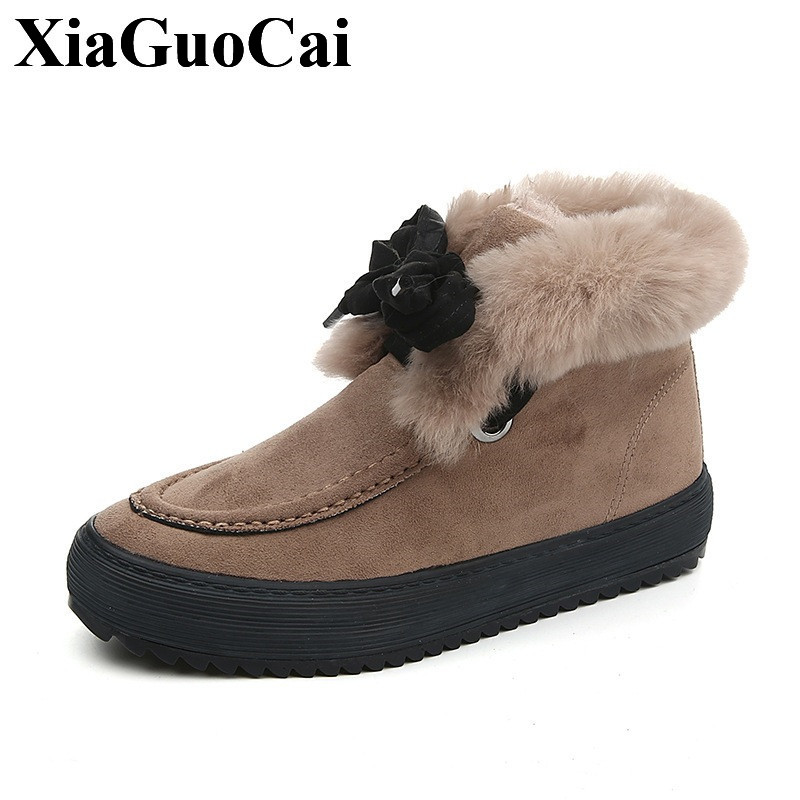 New Arrival Fashion Snow Boots Women Shoes with Fur Winter Warm Antiskid Comfortable Round Toe Lace-up Flat Shoes H577<br>