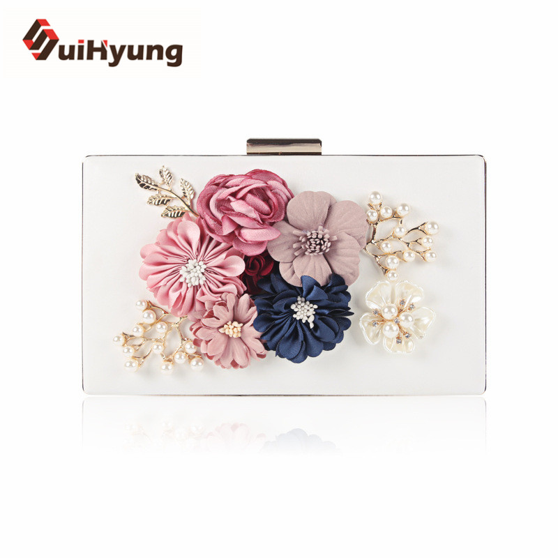 New Female Flowers Handbags Rhinestones Pearls Party PU Leather Evening Bags Day Clutch Women Wedding Small Purse Shoulder Bags <br><br>Aliexpress
