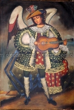 Musician Angel Guitar Cuzco from Peru Large Abstract Restaurant background oil paintings free shipping Modern Art Deco