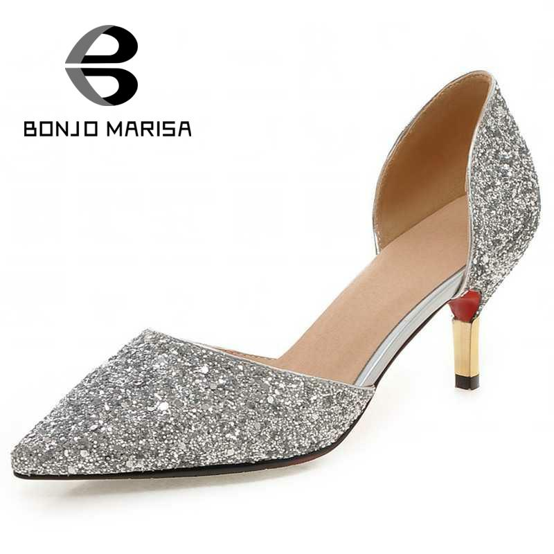 BONJOMARISA Plus Size 32-43 Shinning Uppers Luxury Designer Women Shoes Sexy Pointed Toe Less Platform Pumps Party Wedding Shoes<br><br>Aliexpress