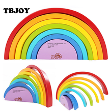 1 Set Kids Baby Wooden Educational Early Learning Colorful Sort Rainbow Puzzles Children's Circle Set Creative Toys Game Gifts