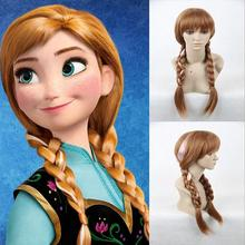 Frozen  Elsa Anna Snow Princess Series cos anime silver-haired blond girl with pigtails BJD doll wig