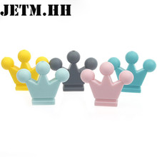 30PCS CROWN FOR BABY Silicone Pendant Teethers Food Silicon Beads Diy For Pacifier Silicone Baby Teething Funny Toys 32*27*7mm