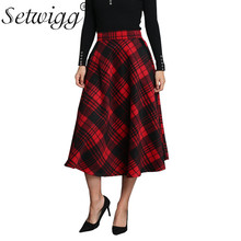 SETWIGG Winter Autumn Retro Wool Blend Plaid A-line Long Skirts Stretch Waist Cashmere Red Tartan Flare Mid-calf Pleated Skirts