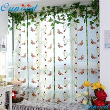 Ouneed 100X80cm tulle curtains Pastoral Tulle Window Roman Curtain Embroidered Sheer For Kitchen Living Room   IUT6518