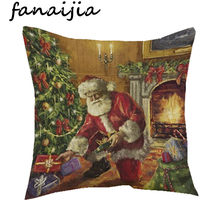 Christmas Santa Claus Pillow cover Linen Cotton Plant sofa Car Cushion cover Home Decor Decorative Pillowcase bedding(China)