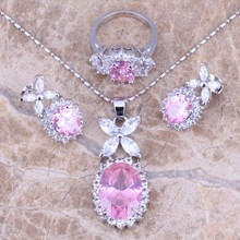 Unusual Pink White CZ Silver Jewelry Sets Earrings Pendant Ring For Women Size 6 / 7 / 8 / 9 / 10  S0039