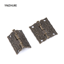 20pcs 25*23mm Antique Bronze Hinges Cabinet Door Drawer Decorative Mini Hinge For Jewelry Storage Wooden Box Furniture