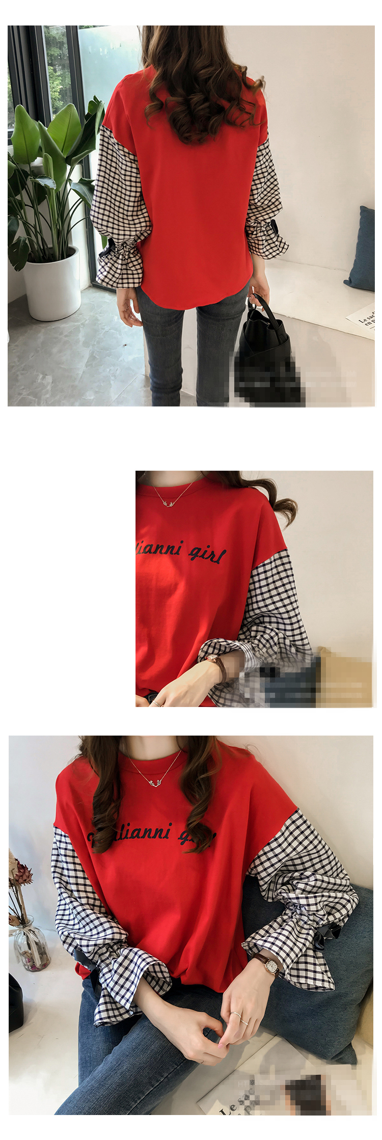 M-4xl Plus Size Cotton Casual T-shirts Women Plaid Patchwork Flare Sleeve O-neck Tshirts Harajuku Fake Two Piece Loose Tees Tops 10 Online shopping Bangladesh