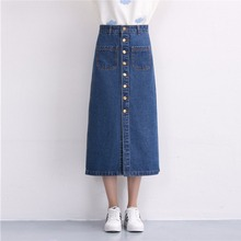 2017 Fashion Women Denim Skirts Long Skirt High Waist Jeans Skirts Jeans Feminina Casual A-Line Skirt