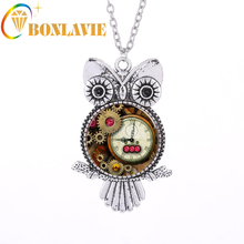 1 Pcs 2017 Women/Men's Jewelry Vintage Classic Steampunk Retro Owl Gear Pendant Necklaces For Women/Men Jewelry Silver Color