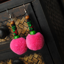 Ethnic jewelry handmade Chinese wind traditional vinatge plush balls dangle earrings pink ,New embroidery lace earrings,
