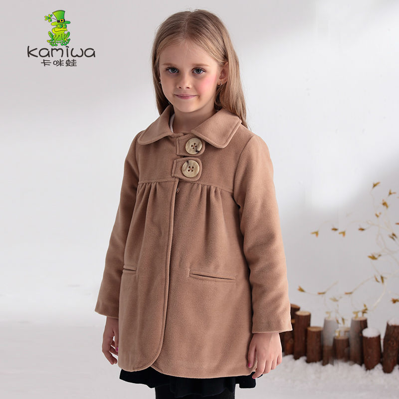 KAMIWA 2017 Girls Winter Coats And Jackets Khaki Double-breasted Woolen Outerwear Children Clothing Blends Kids Clothes<br><br>Aliexpress