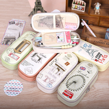 Korean Creative School Pencil Case Eiffel Tower Pen Bag Kawaii Girls Boys Large Pencil Case Estojo Escolar Penalty Pouches Box