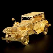 Freeshipping Piececool Classic Car P042-G DIY Toy 3D Laser Cut Models Metal Puzzle For Kids Gifts