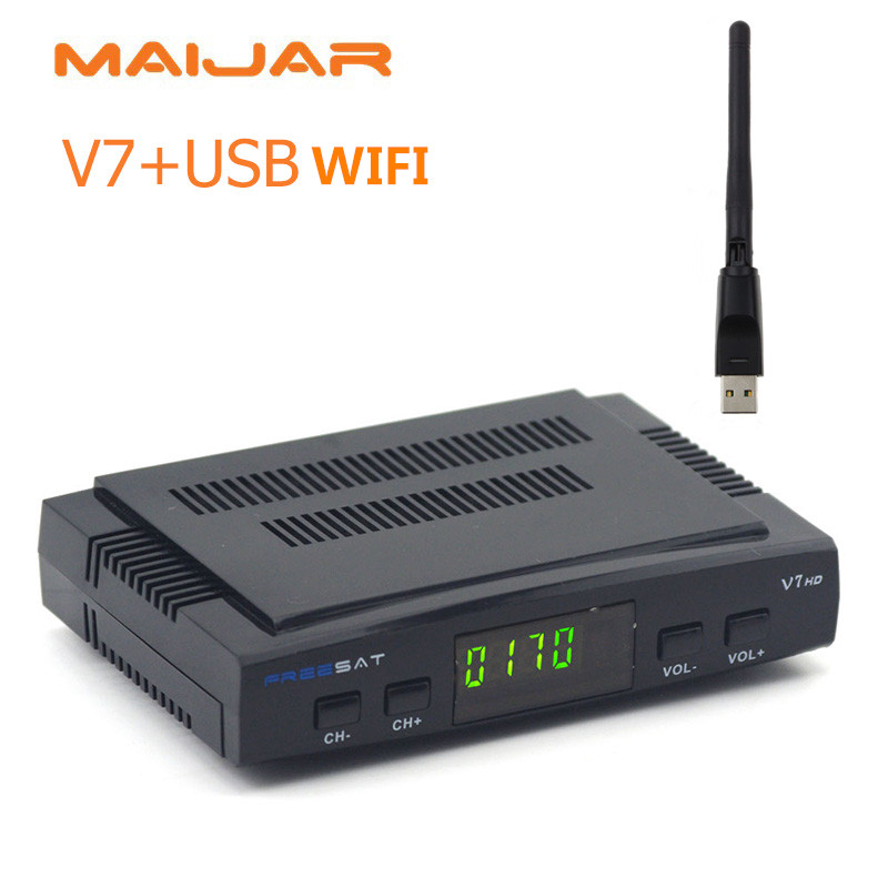 [GENUINE] Freesat V7 1080P HD digital satellite receiver suppport Youtube Powervu CCcam Newcam network sharing youtube youporn(China)