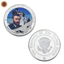 WR 18th US President Challenge Coin Ulysses S. Grant Commemorative United States Statue of Liberty Design Silver Plated Coin(China)