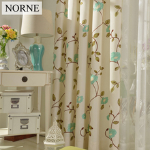 NORNE Embroidered Flowers Curtains for Bedroom,Thermal Insulated,Privacy Assured,Blackout Curtains for Living Room,One Panel