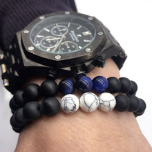 2018 Fashion New Jewelry Men Bracelet 8mm Stone Beads Bracelets 8Styles for Women Men Party Gift Jewelry(China)