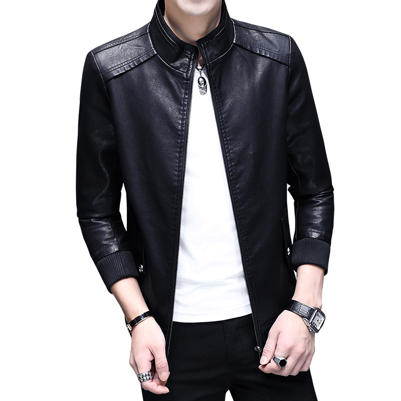 Leather Jacket Men Clothes 2019 Streetwear Baseball Coat Casual Black Coats Faux PU Leather Jackets Chaquetas Para Hombre ZL1221