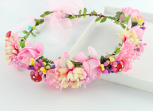 Handmade Woman Girls Daisy rose Flower Headband Party Wedding Fabric Flower Wreath Hair turquoise Flower Crown Hair Accessories