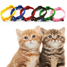 6Pcs Mixed Dog Cat Collar Adjustable Pet Puppy Kitten Whelping ID Collars with Bell Puppy Necklace Pet Accessories